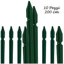 10 Paletti per Recinzione in Ferro Alti 200 cm per