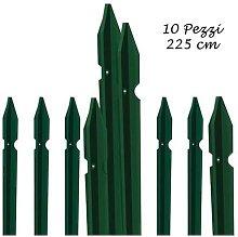 10 Paletti Recinzione 225 cm Ferro Plastificato