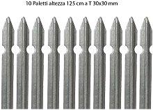 10 Paletti Recinzione in Ferro Zincato 125 cm Pali