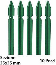 10 Paletti Verdi 250 cm 35x35 Ferro Plastificato