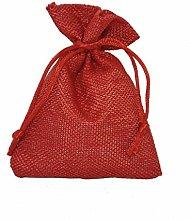 10 pezzi, Bomboniera sacchetto stoffa iuta 10x13,