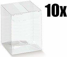 10 Pezzi Scatola Scatto bomboniera PVC Trasparente