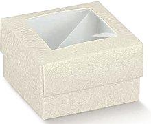 10 Scatole bomboniera pelle bianco cm 10x10x4
