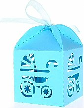 100 PZ Azzurro Scatoline Portaconfetti Bambina per