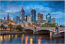 1000 pezzi-Città di Melbourne Puzzle in legno Fai