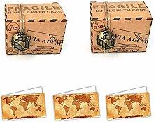 100pz Scatola Cubo Tema Viaggio + Bigliettini Da