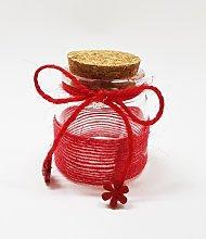 12 Bomboniera Ampolla Rosso Vetro Tappo Sughero