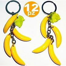 12 Bomboniera Pendente 3 Banane Porta Chiavi