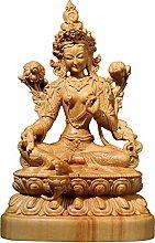 12 cm Bosso Bodhisattva Tara Verde Scultura Buddha