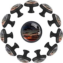 12 pomelli in cristallo da 35 mm, per cassettiera,