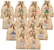 14 sacchetti regalo in iuta di lino con coulisse