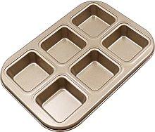 1pc 6 fori mini quadrato antiaderente in acciaio