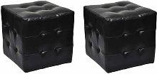2 Cubi pouf imbottiti, cubo pouf sgabello, Nero -