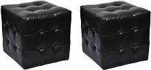 2 Cubi pouf imbottiti, cubo pouf sgabello, Nero