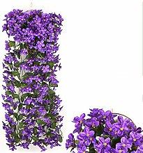 2 fiori artificiali viola finti fiori rampicanti