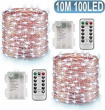 2 * Luci a LED a batteria, 10 m, 100 LED, 8