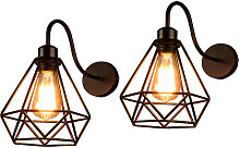2 pezzi di lampada da parete creativa con gabbia