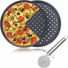 2 pezzi di teglia per pizza in acciaio