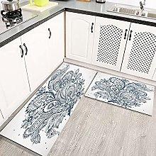 2 pezzi Tappetini da Cucina Antiscivolo Design