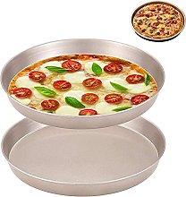 2 Pezzi Teglia per Pizza, Antiaderente Piatto per