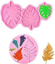 2 stampi per fondente con foglie di felce e foglie