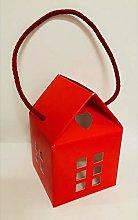 20 PZ Lino Rosso Scatola casetta portaconfetti con