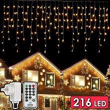 216 LEDs Tenda Luminosa, 5.5M Luce Stringa Catene