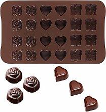 24 forma cuore rosa cavità forma di cioccolato