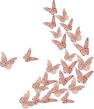 24 Pezzi 3D Farfalle Stickers Murali, Rimovibili