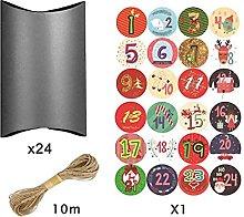 24 Set di Natale Nero Regalo Cuscino Scatole con