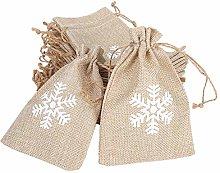 25 pezzi Natale neve modello iuta tela di iuta