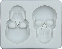2pcs 2 Grid Halloween Skull Shape Silicone Stampo