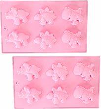 2Pcs 6-Grid Cute Dinosaur Shape Stampo per torta