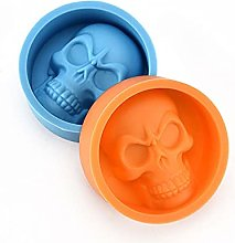 2pcs Halloween 3D Skull Shape Silicone Stampo in