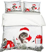 2Pcs / Set Nel Natale di stile 3D Stampe Cat Quilt