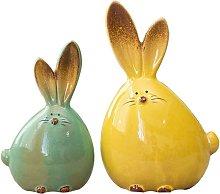 2pcs statua di coniglio in ceramica statua di