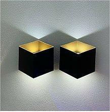 (2X) Applique da Muro a Led Oro Nero Lampada da