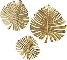 3 decorazioni da parete foglie in metallo dorato,