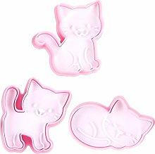 3 pezzi di stampini per biscotti gatto rosa,