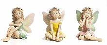 3 Pezzi Fatina del Bosco in Porcellana Navel
