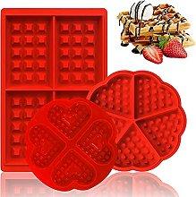 3 Pezzi Stampo per Waffle, Silicone Stampi per