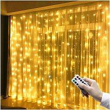 3 x 3 m LED per tende, 300 LED, USB, impermeabile,