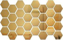 32PCS Adesivi murali con specchio esagonale