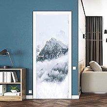 3D Adesivi Per Porte Snow Mountain Murale Adesivo