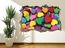 3D cuori colorati adesivi murali foto murale