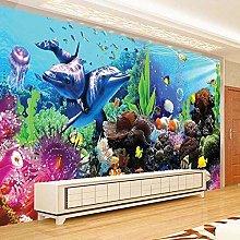 3D mondo sottomarino delfino corallo murale per