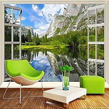 3D Murales Finestra Classica Lago Montagna Natura