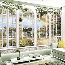 3D Stereo Window Views Giardino Piscina Foto