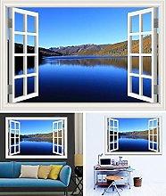 3D Sunny Lake E Blue Sky Scenery Adesivo Da Parete