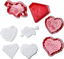 4 pezzi di san valentino rosa cuore diamante